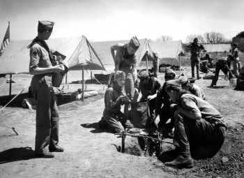 Camp-o-ral held in Eastland in 1944, Firebuilding