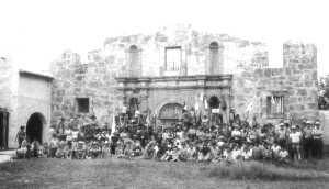 Photo of Scouts in front of Alamo at Alamo Village