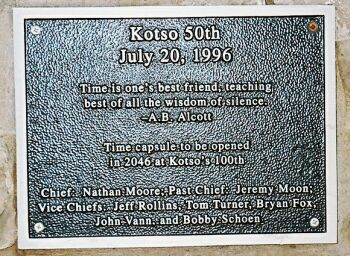 Plaque on Kotso Time Capsule