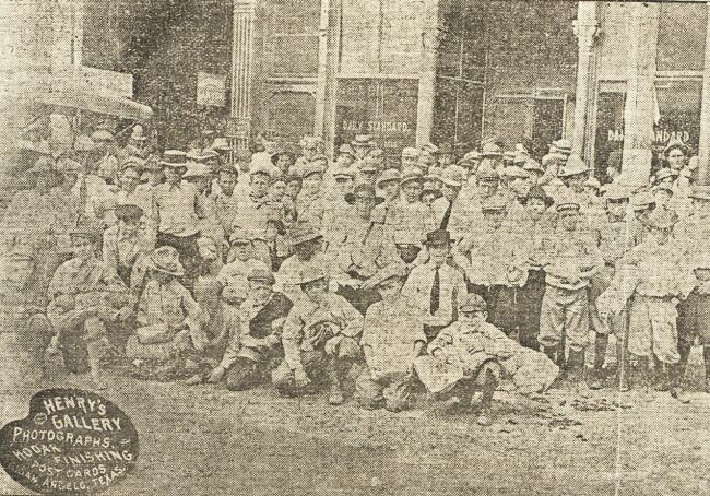 Scouts in front of newspaper office - 1911