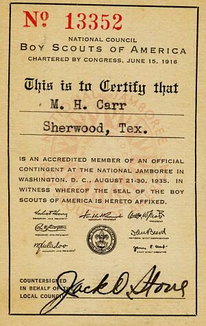 Official Certificate of M. H. Carr