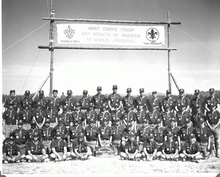 Group photo of Host Troop 59 at 1967 World Jamboree