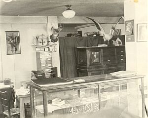 Interior of first Scout Office in basement of county courthouse